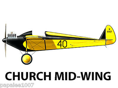 Model Airplane Plans (FF/RC): 1928 Church Mid-Wing 1/6 Scale for .10ci (1.5-2cc)