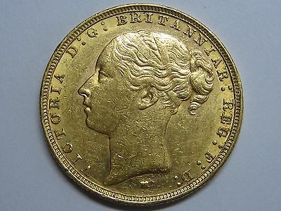 1887 /over Date? Melbourne Victoria Young Sovereign Gold Coin