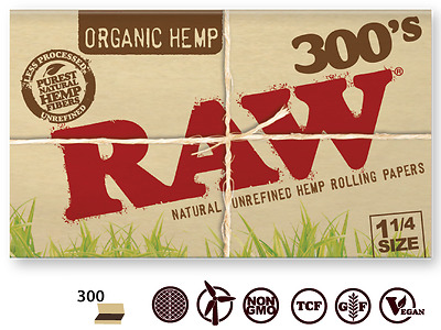 4 X PACK RAW 300's Natural Unrefined Organic Hemp Cigarette Rolling Paper 1 1/4