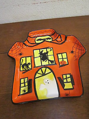 Halloween Ceramic House Haunted Serving Tray Real House Let Us Entertain You