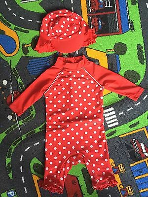 Baby Girls Swimsuit All In One Swimming Costume with Hat 9-12 Months