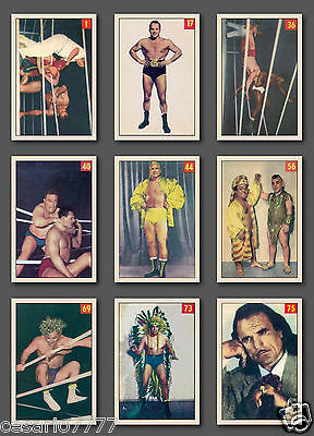 Wrestling 1954-55 Parkhurst Complete Set Reprint, (75 cards) Mint Condition.