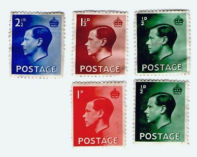British King Edward VIII, Unfranked Stamps X 5
