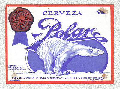 Beer label - Cuba - Cerveza Polar (350 ml) with swimmer logo