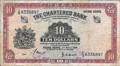 1959 Chartered Bank - Hong Kong 10 Dollars in Fine Condition Pick: 64