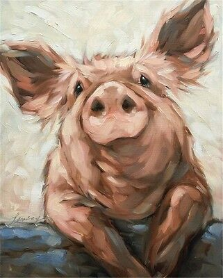 Hand-Painted Animal Oil Painting on Canvas:Lovely piggy 24X32inch /Unframed