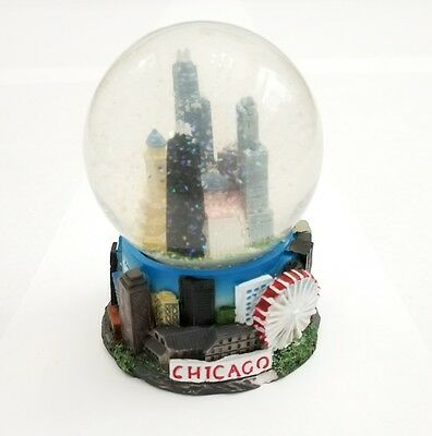 Chicago Downtown Skyline Snow Globe City Ferris Wheel Landmarks Souvenir