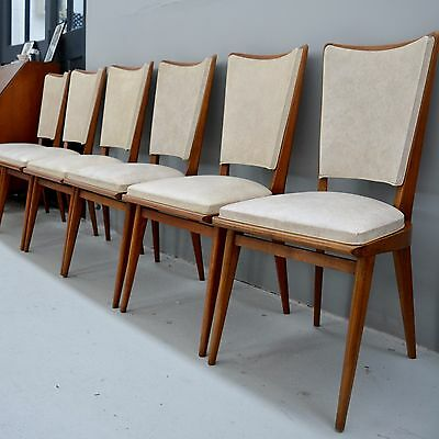 6 French Mid Century Vintage / Retro Teak Dining Chairs