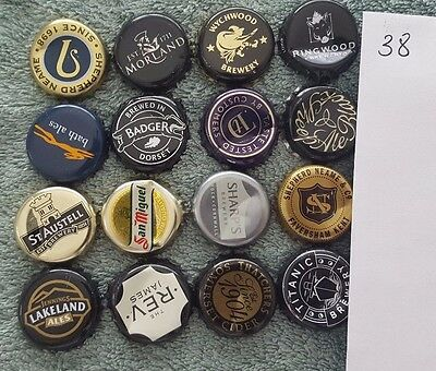 16 beer ale bottle caps tops used UK breweries 38