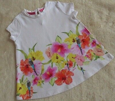 Ted Baker Baby Girls Cute Summer Top white pink floral & Bird Print 12-18 months