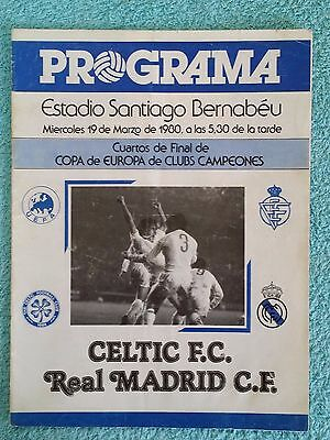 1980 - REAL MADRID v CELTIC PROGRAMME - EUROPEAN CUP QUARTER FINAL 2ND LEG