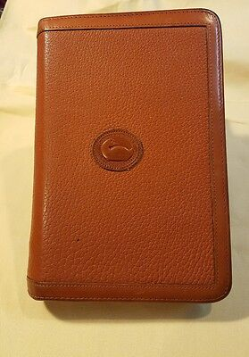 Dooney & Bourke Vintage Day Planner Agenda Zip Around Case British Tan Leather