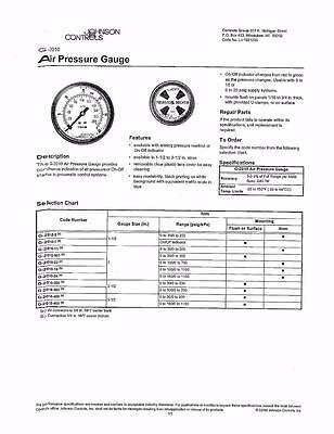 Johnson Controls Air Pressure Gauge