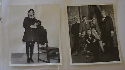 Addams Family original publicity tv photos (2) with stamps Group & Carolyn Jones