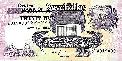 1989 Central Bank - Seychelles 25 Rupees UNC Condition Pick: 33 Prefix: A