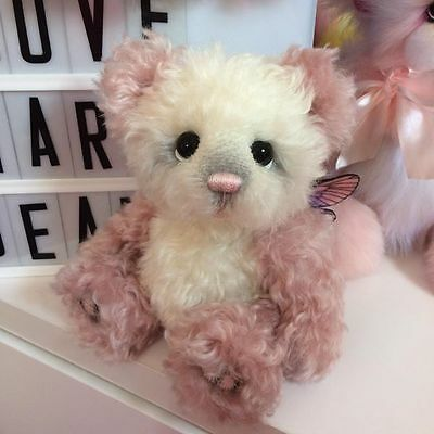 Beautiful pink mohair ooak artist by by Emma's bears