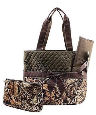 Camouflage Diaper Bag Baby Changing Pad Cosmetic Bag Brown Trim
