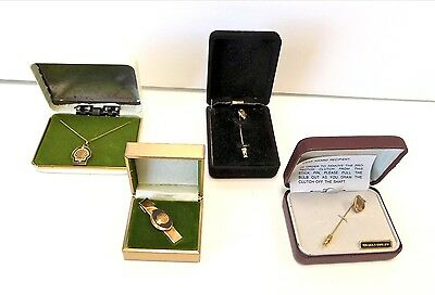 Vintage 10-12K Gold Tie Clips Pins Necklace in Boxes Lot of 4 Collectible B3990