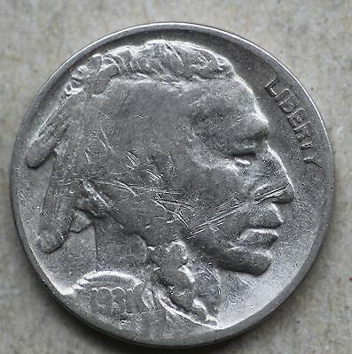 1931S Buffalo Nickel with Scratches