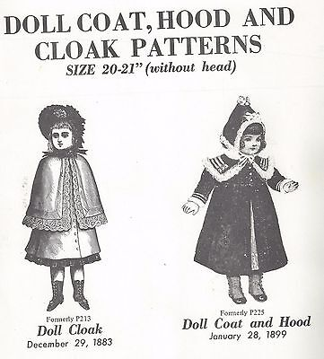 "25-26""antique French Jumeau@1883-89 Cape-Cloak&hooded Coat Pattern German Child"