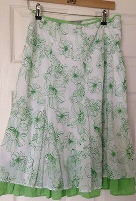 Ladies Per Una Skirt Size 12 White With Green Embroidery And Ruffle