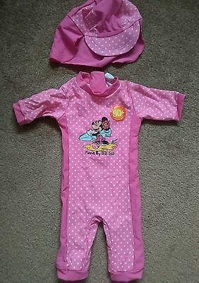 Baby girls pink swimming suit costume outfit Minnie mouse 3-6 months NEW