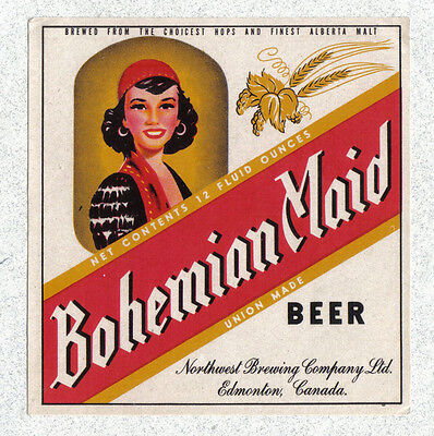 Beer label - Canada - Bohemian Maid Beer - Northwest Brg. - Edmonton, Alberta
