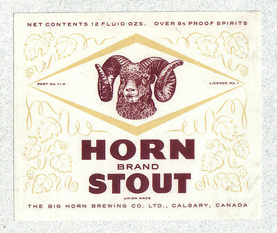 Beer label - Canada - Horn Brand Stout - Big Horn Brg. Co. - Calgary, Alberta