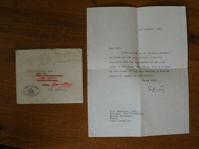 1931 Letter From Privy Council Office of Stanley Baldwin - Signed Geoffrey Fry