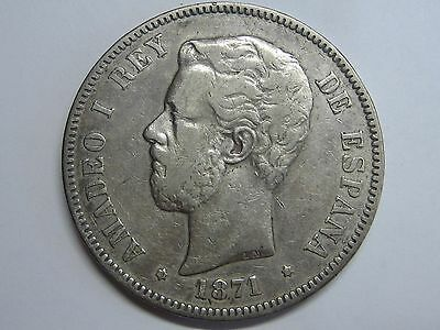 1871 *18- 73 Dem Amadeo I 5 Pesetas Spanish Spain Rara Coin Silver