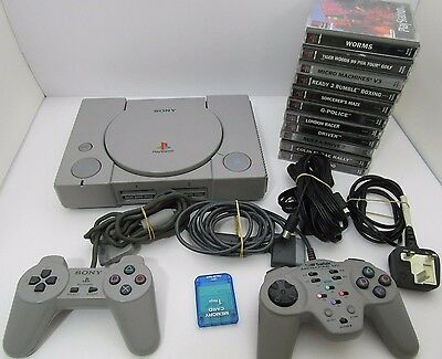 PS 1 PlayStation 1 Bundle 11 Games 2 Controllers PAL