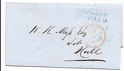 GREAT BRITAIN STAMPLESS COVER LAMBS-CONDUIT ST 1d PAID IN BLUE