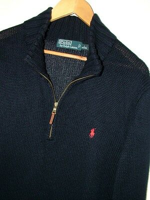 Mens Size Large Polo Ralph Lauren Blue 1/4 Zip Neck Knitted Jumper / Sweater Euc