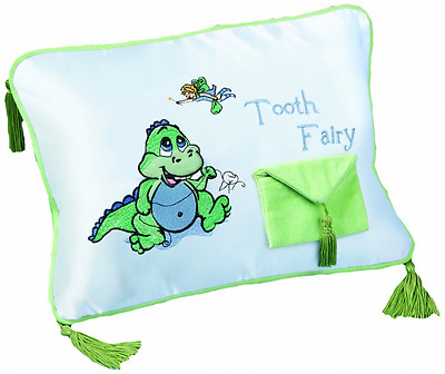 """Lillian Rose Tooth Fairy Embroidered Pillow, Dinosaur, 12"""" x 9"""""""