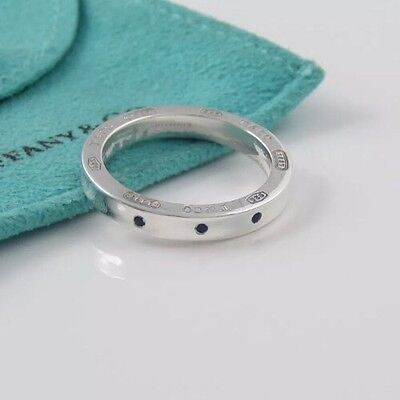 New Tiffany 1837 Silver 3 Blue Sapphire Circle Round Stacking Ring Band Size 4.5