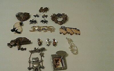 Vtg. Lot Cat Collection  Jewelries Pins And Hook Earrings