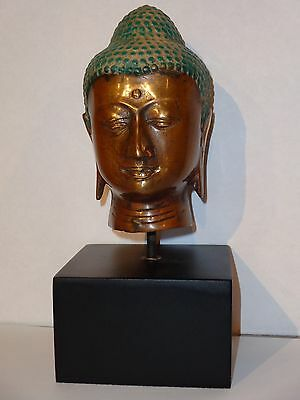 "BRONZE BUDDHA HEAD ON BLACK STAND, 16"" tall, brand new, great patina finish"