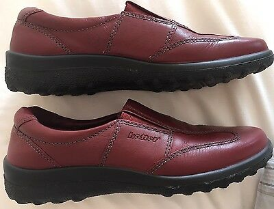 Ladies Size 5.5 Red Leather Shoes By Hotter