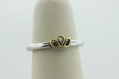 Tara's Diary Irish Sterling Silver Ireland Gold Vermeil Crown Stackable Ring - 6