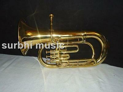 Euphonium 3 Valve Made of Brass in Gold Polish With Free Mouthpc + Box + Shiping