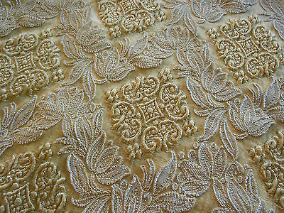 Beautiful Vintage Brocade And Silk Cushion Cover ++ Pale Gold Large Size