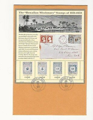 Used Us The Hawaiian Missionary Stamps Of 1851-1953 Sheet On Envelope