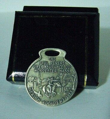 Vintage Paul Revere Life Insurance Co Worcester Mass Fob Keychain Tag No. 901352