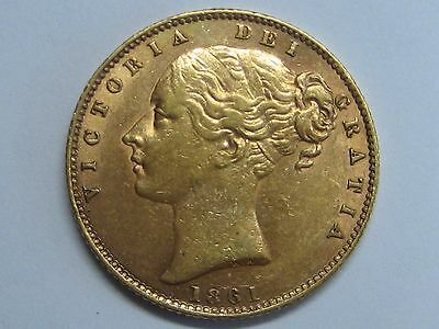 1861 /over Date? Over Letters Victoria Young Sovereign Gold Coin