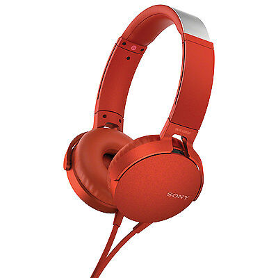 Sony Over-Ear Headphones with Mic (MDR-XB550AP/R) - Red