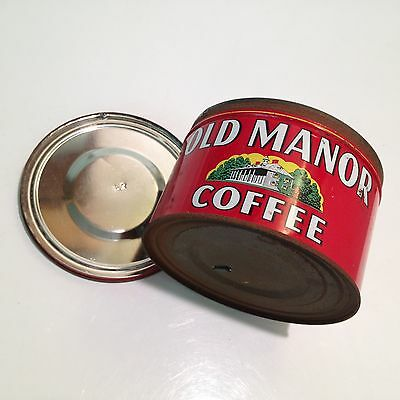RARE Vintage Old Manor Coffee Glendale CA 1LB Tin Can Canister HTF