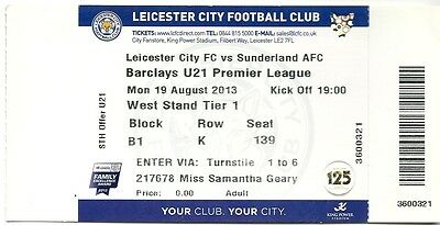 LEICESTER CITY U21 v SUNDERLAND U21 19.08.13 PREMIER LEAGUE USED TICKET STUB