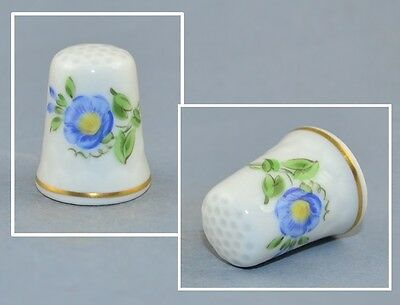 Mpm Saxonia Hand Painted Thimble - Blue Flower