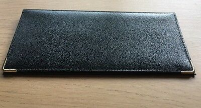 Black Leather Cheque Book Cover - New