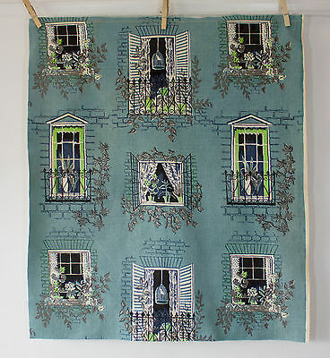 vintage 1950s windows & ivy print linen fabric piece